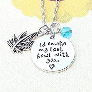 Smoke With You Silver Plated Charm Bead Necklace